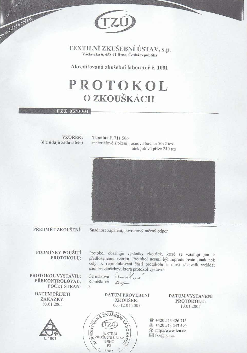 Protokol o zkouškách odolnosti textilie