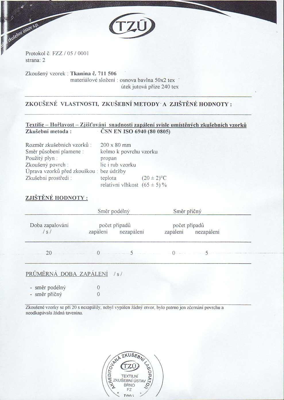 Protokol o zkouškách odolnosti textilie 2. část
